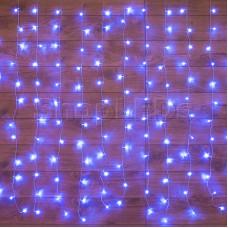 """Гирлянда """"Светодиодный Дождь"""" 1,5х1м, свечение с динамикой, прозрачный провод, 220В, диоды СИНИЕ"""